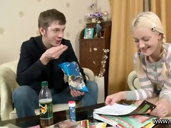 the youthful pair has an at home date during the