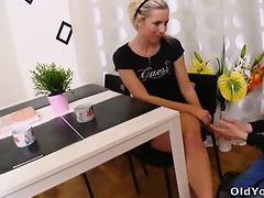 nelya receives her titties licked and sucked by